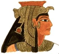 Représentation de profil de la reine Iâhhotep portant une coiffe royale avec un oiseau dont les ailes descendent le long de son visage