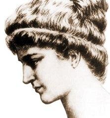 Représentation d'Hypathie de profil, les cheveux en chignon avec un bandeau
