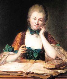 Ce portrait d'Emilie du Châtelet la montre de face, assise à son bureau, portant une robe brune à rubans verts et les cheveux en chignon. Devant elle sont étalés des livres et des écrits, et elle tient un compas à la main. Elle a le visage appuyé contre son autre main.
