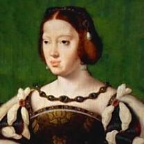 Portrait d'Aliénor d'Aquitaine en robe luxueuse à manches bouffantes blanche et brune.