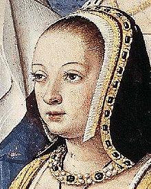 Portrait d'Anne de Bretagne portant une coiffe sombre autour de ses cheveux et des bijoux précieux autour du cou