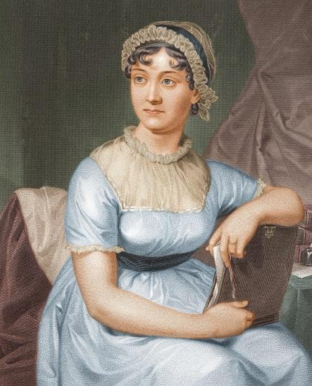 Ce portrait de Jane Austen, réalisé par sa soeur Cassandra Austen, la montre assise sur un fauteuil, l'air pensif. Elle porte une robe bleu clair à manches courtes, avec un col blanc, et ses cheveux sombres sont retenus dans un bonnet blanc. Elle tient des écrits entre ses bras.