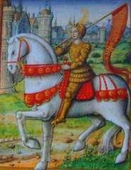 Cette représentation de Jeanne d'Arc la montre devant une ville, en armure dorée sur un cheval blanc qui avance. Elle porte une bannière rouge.