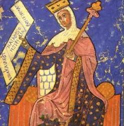 Enluminure représentant Urraque de Castille en habits royaux, sur son trône, portant sceptre et couronne