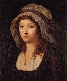 Représentation de Charlotte Corday portant ses cheveux auburn détachés sous un bonnet blanc