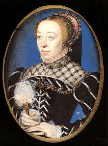 Tableau représentant Catherine de Médicis en robe noire et coiffe décorée de pierres précieuses