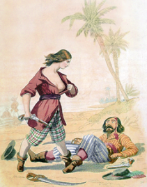 Dessin représentant Mary Read. Pistolet à la main, elle vient de vaincre un homme allongé à ses pieds et écarte sa chemise rouge pour dévoiler sa poitrine et révéler son genre à l'homme avant de l'achever.