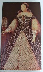 Tableau représentant Catherine de Médicis en pied. Elle porte une robe d'époque, large, noire et blanche, avec des manches épaisses