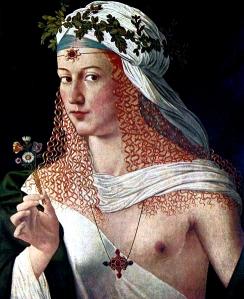 Portrait d'une femme aux cheveux bouclés blonds, qui porte un tissu blanc laissant son sein gauche dénudé. Elle porte un foulard blanc et une couronne de feuilles sur la tête, des bijoux, et tient un bouquet de fleurs à la main. Ce tableau de Bartolomeo Veneto est un portrait présumé de Lucrèce Borgia