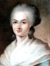 Portrait d'Olympe de Gouges pourtant un châle blanc sur une robe bleue.