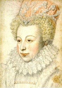 Portrait de Marguerite de Valois qui porte une fraise autour du cou et une coiffe ornée de perles.