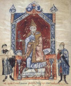 Représentation de Mathilde de Toscane sur une enluminure. Elle est représentée sur son trône, avec à sa gauche un moine tenant un livre et à sa droite un homme tenant une épée.