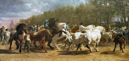 """Le tableau """"Le marché aux chevaux"""" de Rosa Bonheur représente une dizaine de chevaux marrons et blancs accompagnés de cavaliers, certains sur leur monture et d'autres à côté les tenant par la bride."""