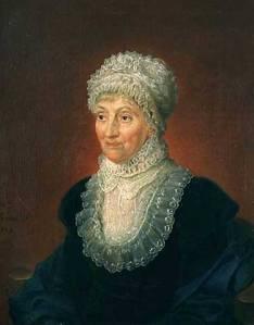 Portrait de Caroline Herschel en costume d'époque