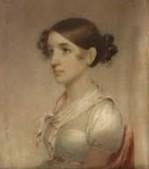 Dessin représentant Jane Colden jeune, ses cheveux noués en chignon et portant une robe et un foulard autour du cou