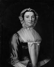 Dessin en noir et blanc représentant Jane Colden en costume d'époque