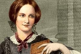 Dessin représentant Charlotte Brontë, souriante, un livre à la main et les cheveux attachés