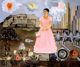 """La peinture """"Autoportrait à la frontière entre le Mexique et les États-Unis"""" représente Frida Kahlo au centre et de part et d'autres, des éléments représentant le Mexique ou les Etats-Unis (drapeau, temple, plantes, usines...)"""