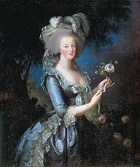 Portrait de la reine Marie-Antoinette, une rose à la main, peint par Elisabeth Vigée Le Brun