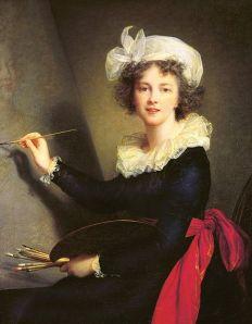 Autoportrait d'Elisabeth Vigée Le Brun représentée en train de peindre, pinceaux et palette à la main