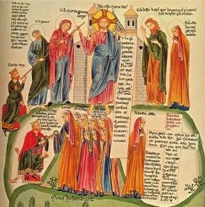 Page illustrée extraite de l'Hortus deliciarum réalisé par Herrade de Landsberg et représentant le Mont Sainte Odile