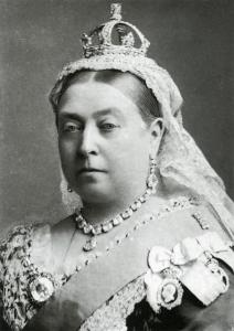 Photographie en noir et blanc de la Reine Victoria d'Angleterre