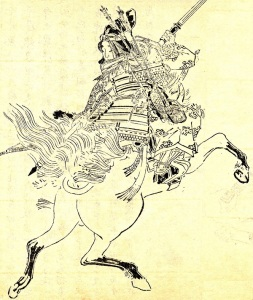Dessin représentant Tomoe Gozen à cheval, sabre à la main