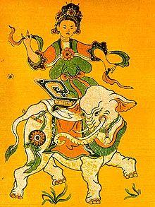 Dessin représentant Triệu Thị Trinh à dos d'éléphant