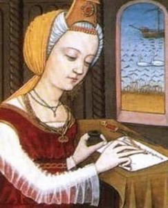 Dessin représentant Trotula de Salerne en train d'écrire