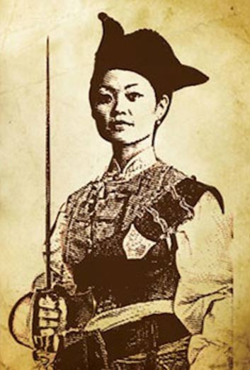 Portrait de Ching Shih en tenue de pirate, sabre à la main