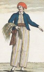 Portrait de Jeanne Barret habillée en homme avec une gerbe de plantes à la main