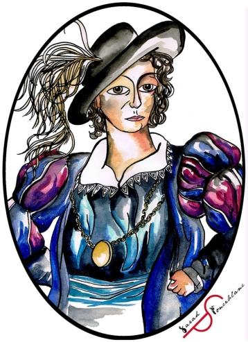 Dessin représentant Anne Dieu-le-veut en costume Renaissance bouffant bleu, avec un chapeau noir portant une plume