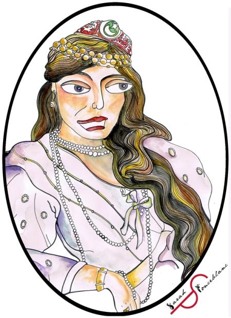 Dessin de Chajar ad Durr en robe claire, les cheveux lâchées et portant des colliers de perles, bracelet, boucles d'oreille et bijoux de front