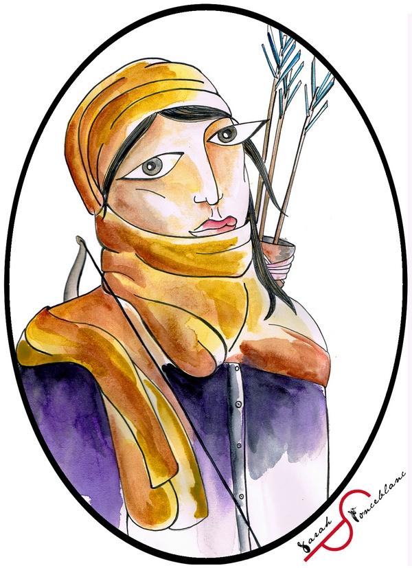 Dessin représentant Fannou en costume bleu et voile jaune autour de la tête ; elle porte un arc et des flèches.