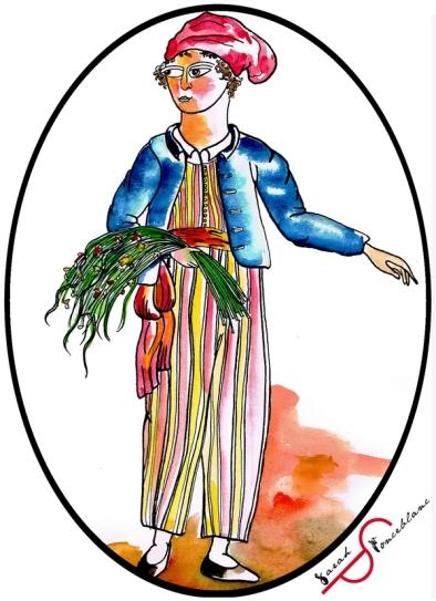 Portrait de Jeanne Barret habillée en vêtements d'homme, une gerbe de plantes sur le bras.