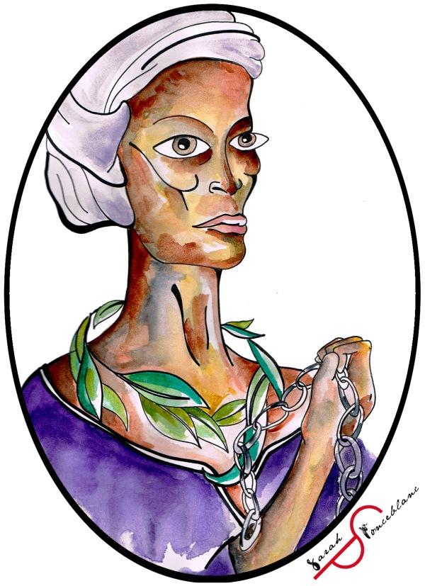Dessin représentant Nanny ; elle porte un rameau autour du cou et tient des chaînes brisées dans une main.