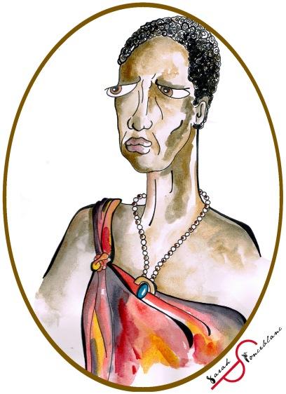 Dessin représentant Nehanda Nyakasikana en habits rouges retenus par un collier de perle, les cheveux coupés courts