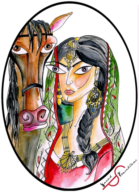 Dessin représentant Rani Abbakka Chowta, avec de longs cheveux noirs retenus dans une tresse et un voile vert léger autour de la tête ; elle se tient à côté d'un cheval