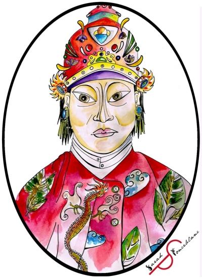 Dessin de Shin Sawbu en costume royal, avec des habits rouges à motifs floraux et une couronne colorée