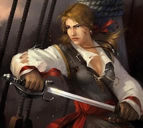 Portrait d'une femme pirate dégainant un sabre