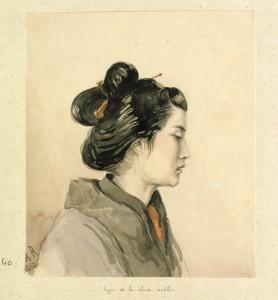 Portrait de profil d'une femme noble chinoise
