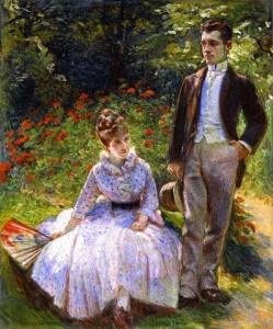 La sœur de Marie Bracquemond et son fils dans le jardin de Sèvres, Marie Bracquemond