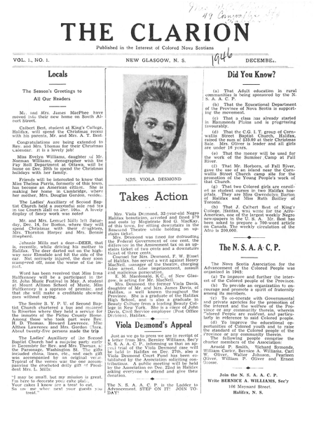 Article du journal The Clarion sur l'appel de Viola Desmond