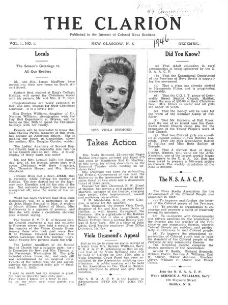 Article du journal The Clarion sur l'appel de Viola Desmond