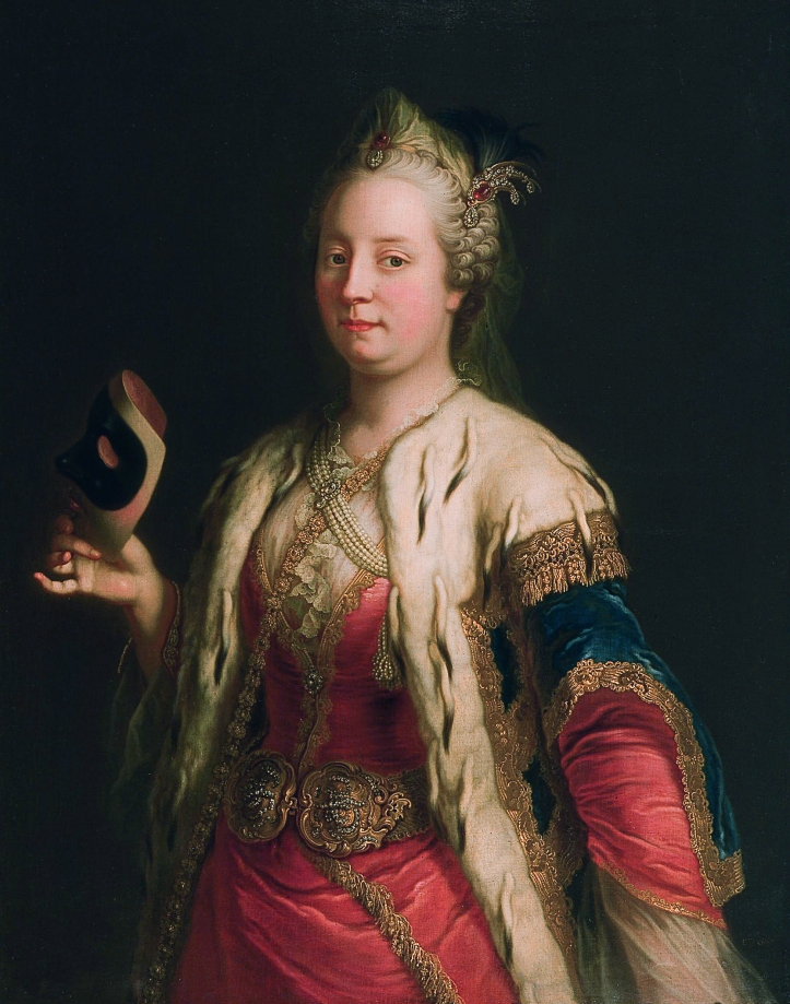 Maria Theresia in a costume and mask à la Turque, by Martin van Meytens