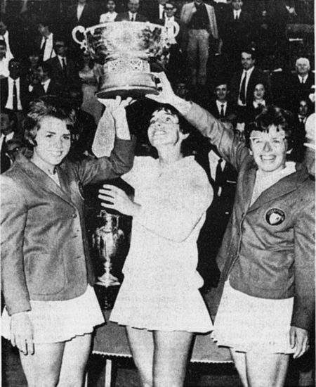 Billie Jean King lors de la Fed Cup à Turin (1966)