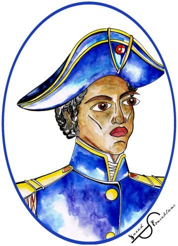 Ce portrait (réalisé par l'artiste Sarah Ponceblanc) représente Sanité Belair en tenue militaire, avec un bicorne bleu et une tunique bleue avec des épaulettes dorées.