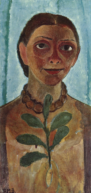 Cet autoportrait représente Paula Modersohn-Becker portant un collier de grosses perles brunes et tenant un rameau végétal à la main