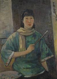 Ce tableau est un autoportrait de Pan Yuliang. Elle porte une tenue verte et un foulard jaune, et tient un pinceau à la main.
