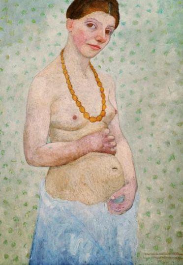Cet autoportrait représente Paula Modersohn-Becker portant une jupe bleue et torse nue, un collier de perles entre les seins. Ses mains sont posées au-dessus et en-dessous de son ventre arrondi ; elle est enceinte.
